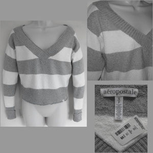 NWT V-neck sweater S Cotton bl Striped Cropped